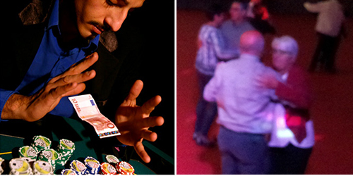 Animation Triangle Coté d'Aurillac avec le magicien et DJ pour animer un congrès.